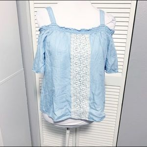 Justice Girls Blue Chambray Lace Cold Shoulder Top
